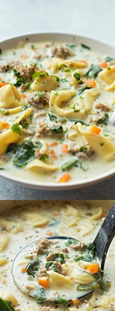 This Creamy Sausage and Tortellini Soup from Life Made Simple is a bowl full of comfort! Its loaded with veggies, sausage, and cheese tortellini! (Cheese Tortellini)
