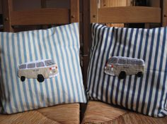 VW Campervan Cushion Cover Applique Decorative by GracesFavours, Embroidery Ideas, Embroidery Applique, Campervan, Cut Outs, Scooters, Cushion Covers, Vw, Sewing Projects, Presents