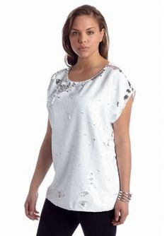 Vince Camuto  Plus Size Short Sleeve Sequin Shell