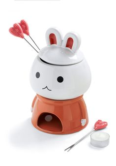 This is so adorable. @Patricia Yee, it's like you're eating cute bunny brains.   Dip-Hop Hit Fondue Set    $49.99