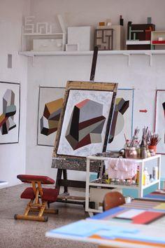 "beatpie: "" The Atelier of Nathalie Du Pasquier "" Artist Art, Artist At Work, Nathalie Du Pasquier, Pottery Studio, Pottery Clay, Slab Pottery, Atelier D Art, Art Studio At Home, Painting Studio"