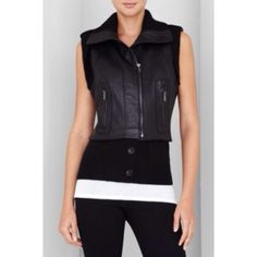 ✨HPx2✨ BCBGMAXAZRIA ribbed-trim leather vest It's super warm! There is no need to wear a jacket over it. It gives you a sleek silhouette and has distinctive ribbed trim. Round neck with ribbed collar. Sleepless with ribbed trim and buttons tabs. Front slit pockets with zipper closure. Bottom ribbed hem has dual buttons. Front off-center zipper closure. Front is 100% leather ribbing is 52% acrylic 48% wool and back is 55% polyester 45% rayon. Only signs of wear are normal and it's on the…