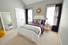gray, purple, and goldenrod guest bedroom