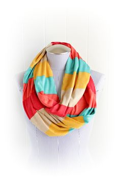 Multicolor+Striped+Infinity+Scarf+Coral...breastfeeding scarf