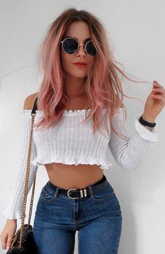The hair, top, sunnies... what is not to like! ღ | Stylish outfit ideas for women who follow fashion.