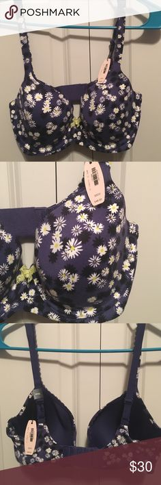 NWT Victoria's Secret Body By Victoria Lined Demi NWT! Victoria's Secret Very Sexy Push-Up Bra! Beautiful floral pattern on a navy/purple background. Small green bow in the center. 32DD. Never worn. Victoria's Secret Intimates & Sleepwear Bras