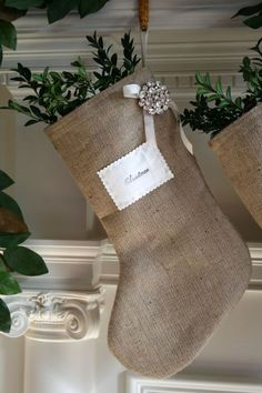 diy Design Fanatic: Christmas Copycat. Beautiful!! Do this stocking with embroidered monogram or paw print (for pets).