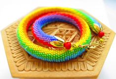 Crochet beaded necklace Rainbow