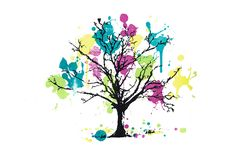 Blooming Colourful, paint splatter tree.