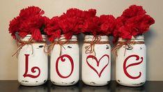 LOVE Valentine Mason Jars, Rustic Mason Jars, Set Of 4 Mason Jars, Rustic Home Decor, Valentines Day day decorations This item is unavailable Roses Valentine, Funny Valentine, Valentine Wreath, Valentine Day Crafts, Love Valentines, Valentine's Home Decoration, Diy Valentine's Day Decorations, Decoration Bedroom, Valentines Day Decorations