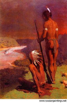 Anshutz, Thomas Pollock (1851-1912) - 1908c. Indians on the Ohio, via Flickr.