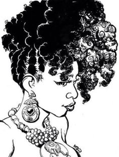 Hair Black woman braids cornrows ear ring drawing doodle picture