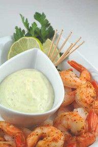 Roasted shrimp with wasabi cocktail sauce.