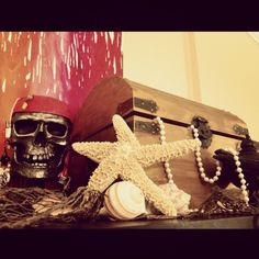 pirate decor-treasure chest filled with free play activities and quiet time activities for kids.