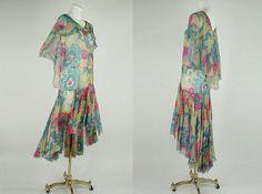 Late 1920s flowered silk dress
