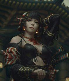 Guweiz girl with masks digital painting Fantasy Women, Fantasy Girl, Dark Fantasy, Warrior Girl, Fantasy Warrior, Female Character Design, Character Art, Fantasy Characters, Female Characters
