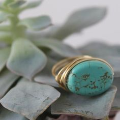 LucyMint Jewelry - Oval Magnesite Turquoise Colored Wire Wrapped Ring on Poshmark