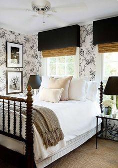 Farmhouse bedroom with Ralph Lauren wallpaper