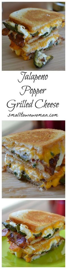 Jalapeno Popper grilled cheese. Oh my goodness! If you like delicious and spicy, this is the grilled cheese for you. Crispy bread filled with gooey cheese, bacon and spicy homemade jalapeno poppers.