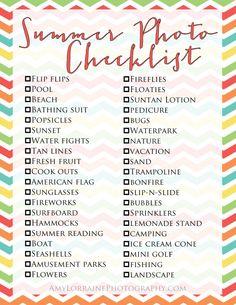 Summer Photo Checklist | www.amylorrainephotography.com