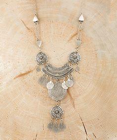 Love this Silvertone Tiered Medallion Statement Necklace on #zulily! #zulilyfinds