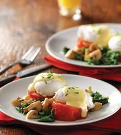 Eggs Florentine with Roasted Tomatoes & Mushroom Spinach Sauté