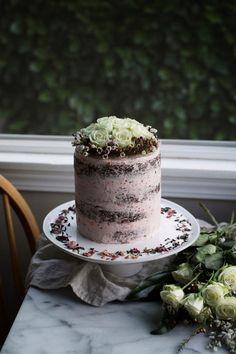 Chocolate Cake w/Raspberry Rosewater Buttercream | Oh Honey Bakes