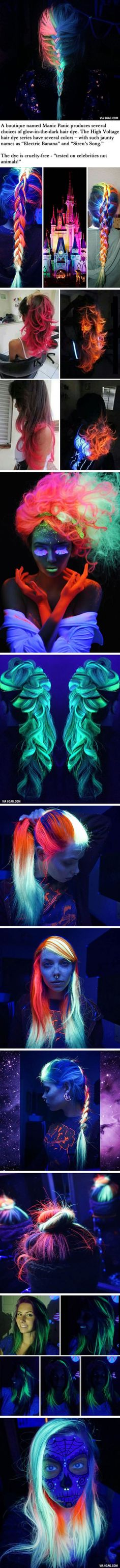 Rainbow Hair That Can Glow In The Dark Under Black Light Is Now A Thing (via Rainbowmegz)