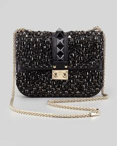 Day dreaming of Valentino Glam Lock Small Crystal-Covered Crossbody Bag, Black