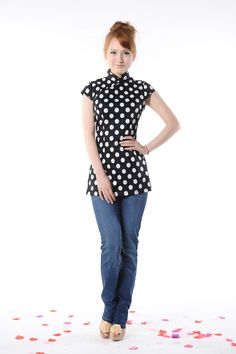 Polka Dot Chinese Blouse, an ultra cool and retro Chinese blouse.