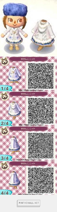 Winter white coat with blue skirt ACNL QR Code. Post Animal, My Animal, Motif Acnl, Ac New Leaf, Motifs Animal, Happy Home Designer, Animal Crossing Qr Codes Clothes, Pokemon, Knitting Blogs