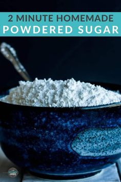 Learn how to make powdered sugar at home! Powdered sugar without cornstarch is affordable for your favorite recipes like frosting, icing, or whipped cream. You'll never buy storebought again! Frosting Without Powdered Sugar, Make Powdered Sugar, Sugar Free Frosting, Sugar Cookie Icing, Sugar Cookies Recipe, Icing Recipe For Cake, Vanilla Frosting Recipes, Vegan Frosting, Icing Recipes