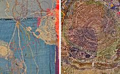 Junko Oki   Woky Shoten inspiration  Japanese textile artist Junko Oki calls her work 'Woky Shoten' meaning 'free movement of the line to make a simple repetition of work'. Her intricate embroideries have a worn vintage quality with layers of meticulous stitch work creating pathways and pattern