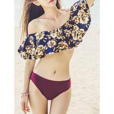 Choies Blue Floral Off Shoulder Frill Top And Burgundy Bikini Bottom ($18) ❤ liked on Polyvore featuring swimwear, bikinis, bikini bottoms, multi, flounce bikini, blue floral bikini, bikini bottom swimwear, blue ruffle bikini ve ruffle bikini