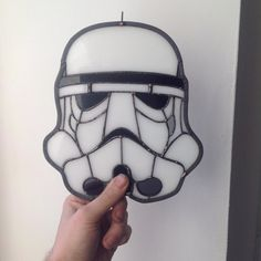 The Stained Glass Geek made this amazing Stormtrooper Helmet. Nice gift for a…