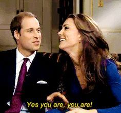 Prince William and Kate Middleton after finishing their engagement interview.