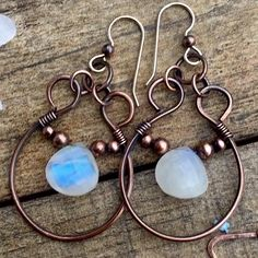 Moonstone earrings - Pure copper wire wrapped earrings a with rainbow moonstone bead. Sterling silver 925 ear wires The c - Wire Wrapped Earrings, Wire Earrings, Earrings Handmade, Handmade Jewelry, Copper Jewelry, Beaded Jewelry, Copper Wire, Aluminum Wire Jewelry, Jewelry Knots