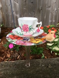 Upcycled Tea Cup Bird Feeder, Mini Bird Bath, Garden Flower Stake, Outdoor Candle Holder, Tea Party, Garden Party, Succulent Dish Planter