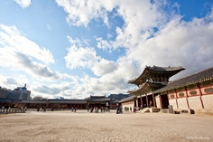 "Gyeongbokgung, The largest palace of the Five Grand Palaces built by the Joseon dynasty. Geongbok means that ""Place of Shining Happiness"""