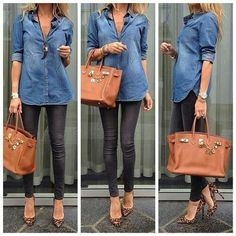 Jean top, tights, heals & an awesome bag...