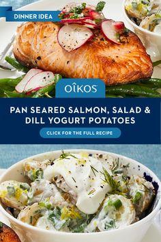 Salmon Recipes, Potato Recipes, Fish Recipes, Seafood Recipes, Dinner Recipes, Cooking Recipes, Healthy Recipes, Recipies, Pan Seared Salmon