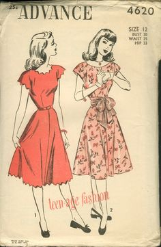 40's dress patterns -  love the scalloped edges