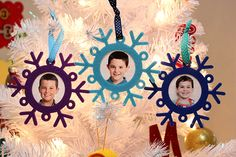Kids Craft: Snowflake Photo Ornaments - Happiness is Homemade