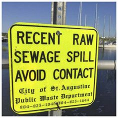 City of St Augustine: Sewer overflow notice  https://historiccity.com/2016/staugustine/news/florida/city-of-st-augustine-sewer-overflow-notice-60613  In accordance with the Florida Department of Environmental Protection's Public Notice of Pollution Rule (62ER16-1), the City of St. Augustine is providing notice of a raw sewage spill that occurred today, October 12, 2016, at the intersection of Old Quarry Road and Coquina Avenue in St. Augustine.    The sanitary sewer system overflow was…