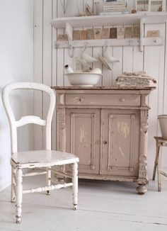 old painted chair and cupboard