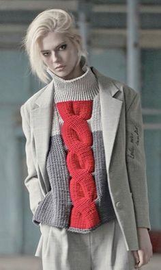 Color Block Cable Knit Drop Shoulder Sweater