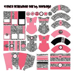 Hot Pink Zebra Birthday Party Printable Package, DYI PDF Printable Pink White and Black Zebra Decorations, Bright Pink Zebra Party.
