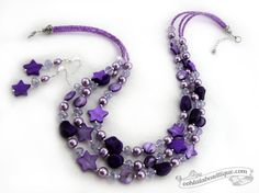 Amethyst Nightfall Purple Mother of Pearl Crystal 2 piece jewelry set, necklace, earrings gift for her under 35
