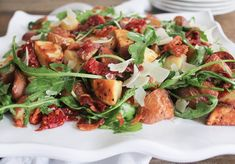 Roasted Potato Salad with Pancetta, Sun-Dried Tomatoes and Arugula by Domesticate Me