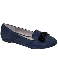 Me Too navy blue suede slipper with black velvet bow